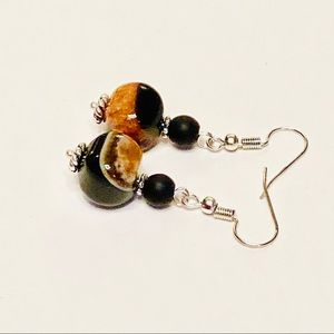 Gorgeous Coppery Orange Druse Agate Earrings